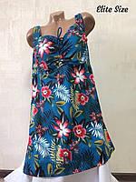 Женский принтованный купальник с туникой в больших размерах 6mbr1835