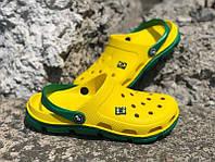 Шлепки на лето кроксы мужские желтые черные KF0564