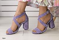 Босоножки лиловые замшевые на устойчивом каблуке, фото 1