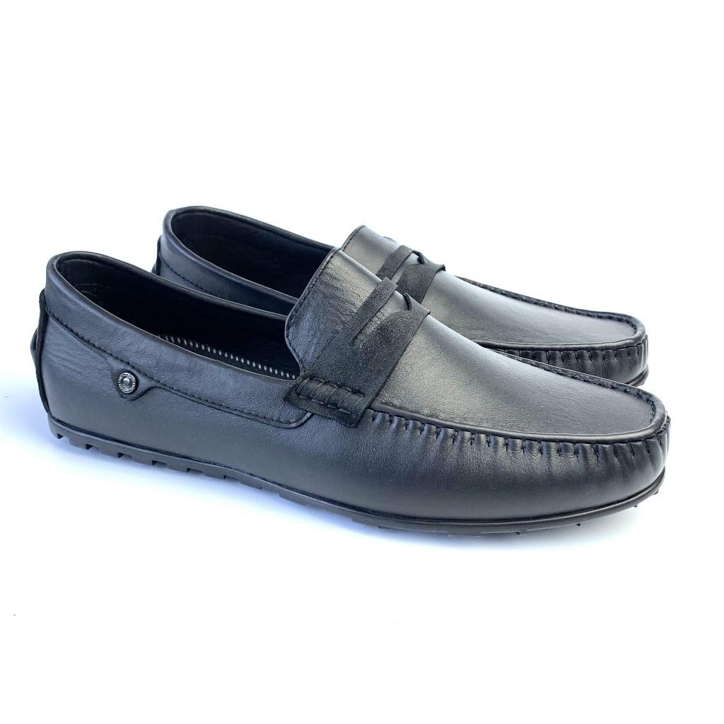 Мокасини шкіряні чорні чоловіче взуття великих розмірів ETHEREAL Classic Rem Black BS by Rosso Avangard
