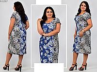 Летнее платье с цветочным принтом, с 50-62 размер, фото 1