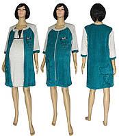 Предложение месяца! Наборы с велюровым халатом для беременных и кормящих - 18047 03278-2 DreamViol Изумруд ТМ УКРТРИКОТАЖ!