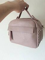 Женская кожаная сумка Вера пелле Италия Vera Pelle кожаные сумки в пудровом цвете , фото 1