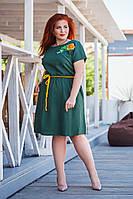 Платье женское короткое из льна с вышевкой и боковыми карманами (К28307), фото 1