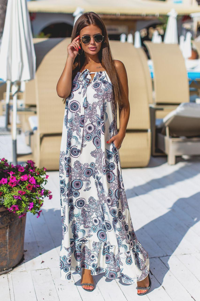 Платье женское летнее с открытыми плечами р, 42 44 46 48