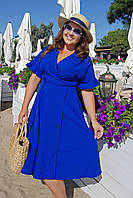 Платье однотонное на запах летнее Большого размера