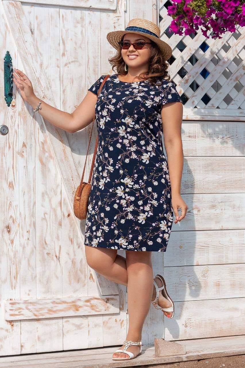 Платье женское летнее с рисунком батал р, 50, 52, 54, 56,