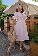 Платье нежно-розовое летнее женское Большого размера