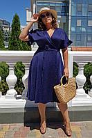 Платье темно-синее на запах летнее Большого размера