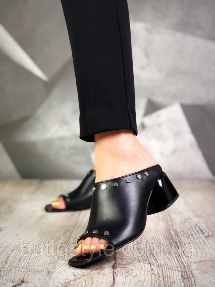 36 размер  Женские черные шлепки натуральная кожа на каблуке