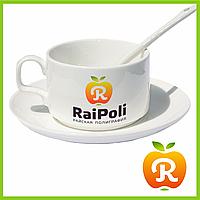 Печать на кофейных чашках с ложкой и блюдцем. Нанесение изображения на чашку для кофе с ложкой и блюдцем, фото 1