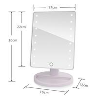 Зеркало для макияжа с LED подсветкой, настольное, 16 светодиодов