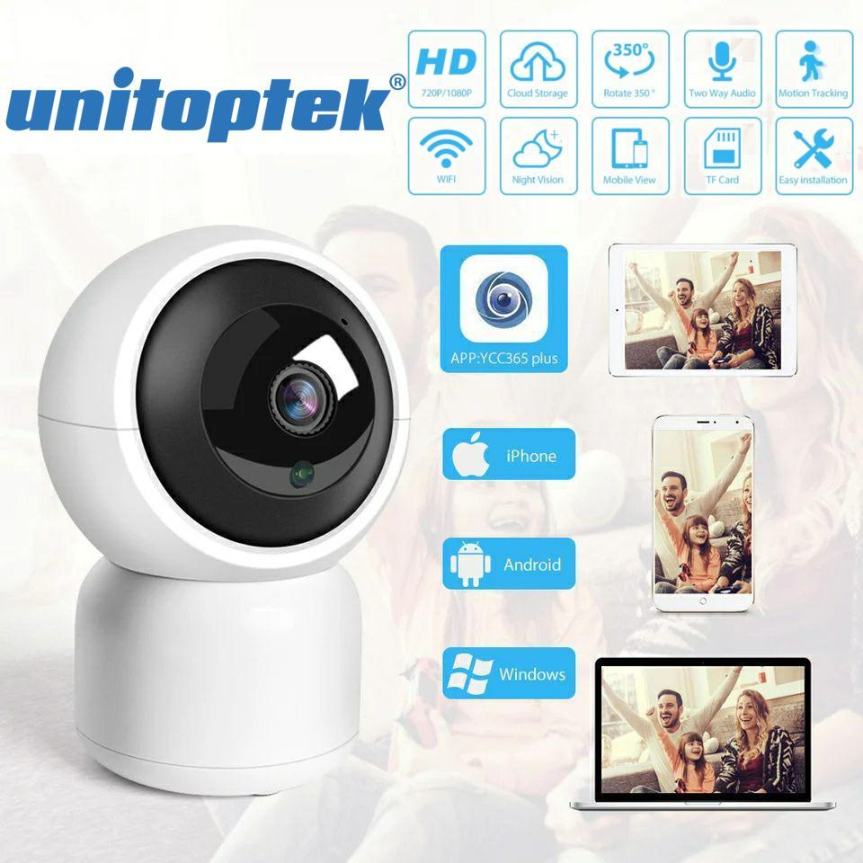 IP-камера с интеллектуальным отслеживанием Unitoptek T-02 1080P. Android, iOs, PC. Cloud/Micro SD.YCC365Plus