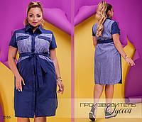 Платье-рубашка летнее с воротом на пуговицах коттон-стрейч 48-50,52-54,56-58