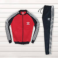 Спортивный костюм мужской в стиле Adidas Black-Red осенний | весенний
