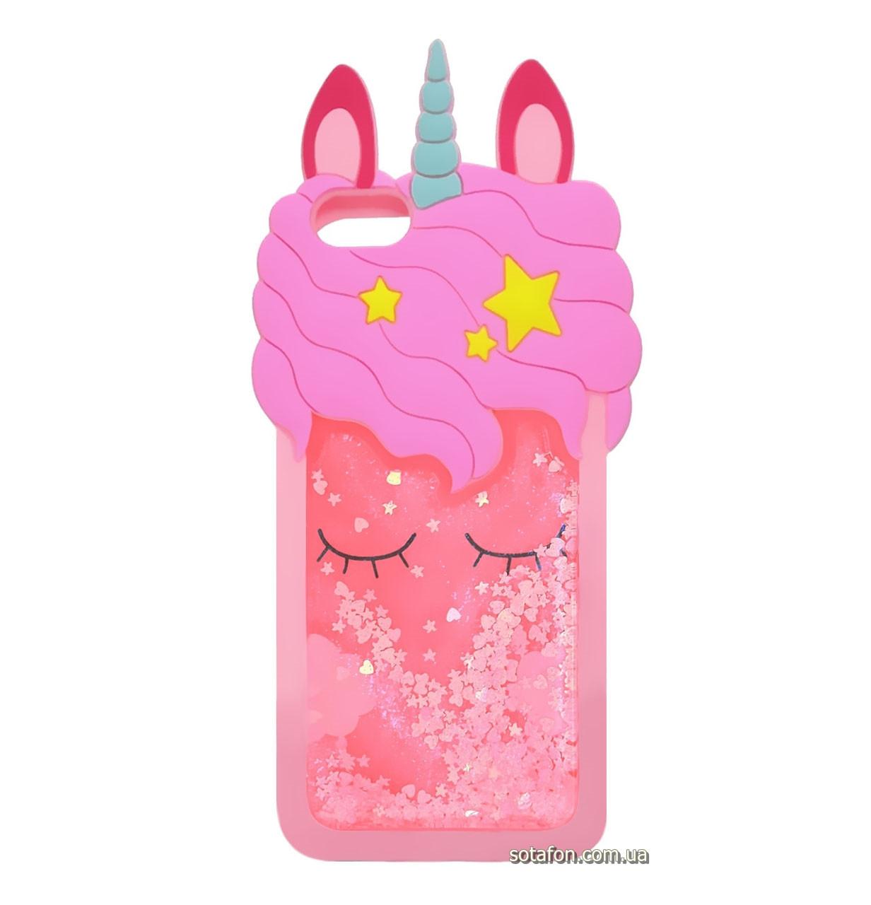 Чехол-накладка TPU 3D (Жидкий Блеск) Little Unicorn для IPhone 5 / 5s / SE Pink