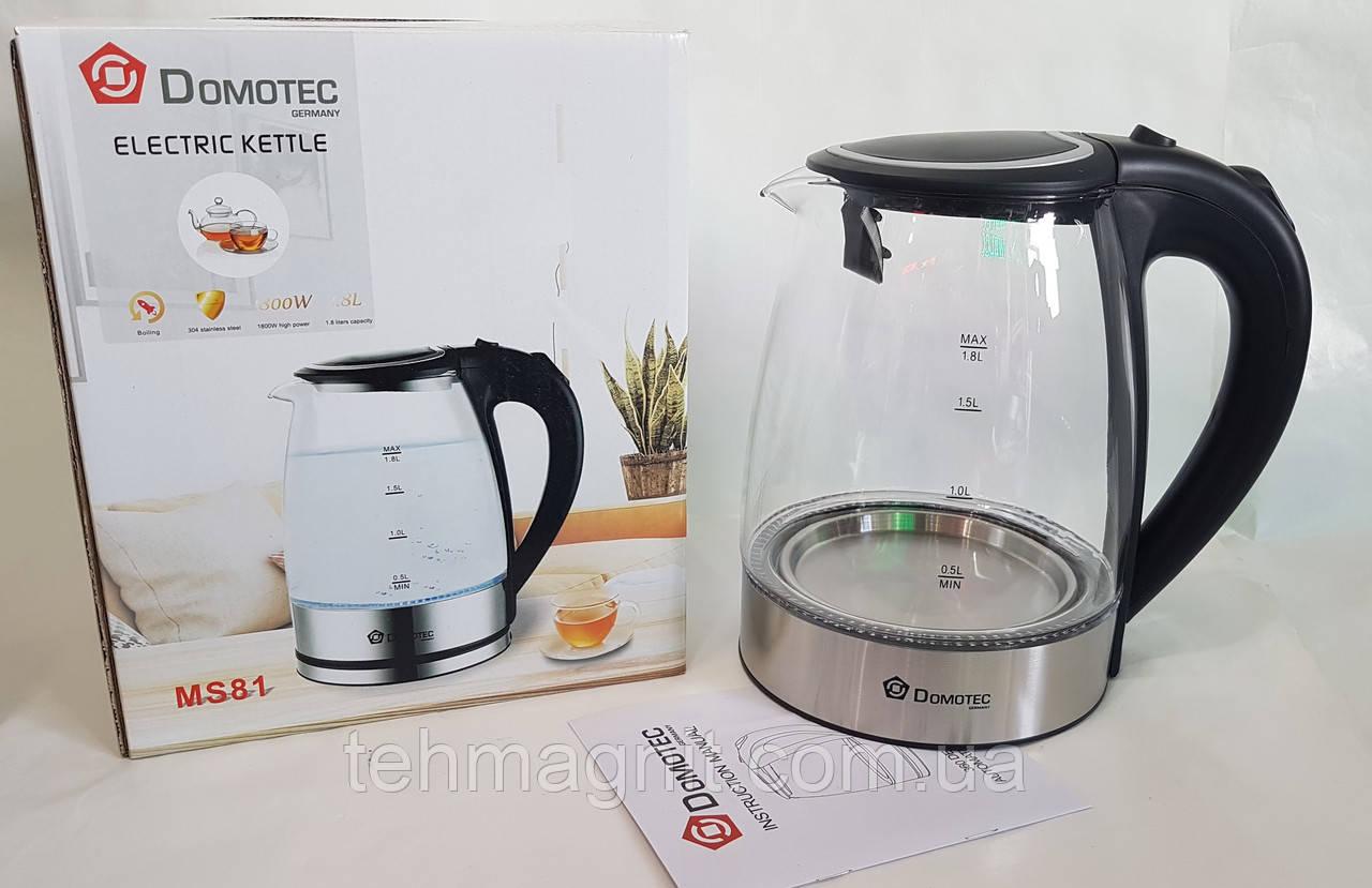 Чайник стеклянный электрочайник Domotec MS-81