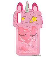 Чехол-накладка TPU 3D (Жидкий Блеск) Little Unicorn для Samsung Galaxy A50 (2019) SM-A505F Pink