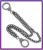 Черная двойная цепь-наручники на джинсы (ch-006)