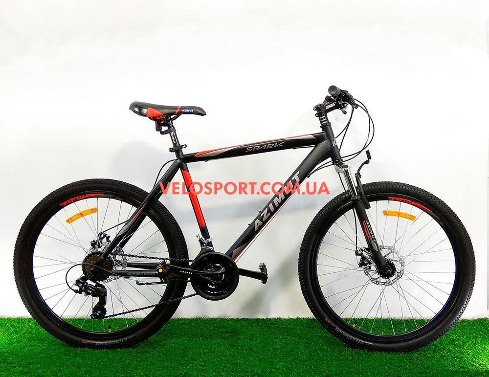 """Велосипед 26"""" Azimut Spark GD черно-красный на оборудование SHIMANO TORNEY"""
