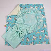 Летний детский конверт + плед пони с молочным плюшем 78х85см