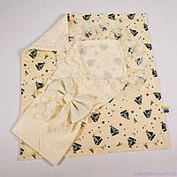 Летний детский конверт-одеяло + плед кораблики с молочным плюшем 78х85см