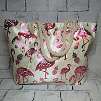 Пляжная сумка принт Фламинго с ручками из каната, розовый