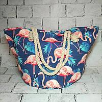 Пляжная сумка принт Фламинго с ручками из каната, синяя