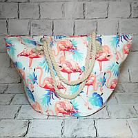 Пляжная сумка принт Фламинго с ручками из каната, белая