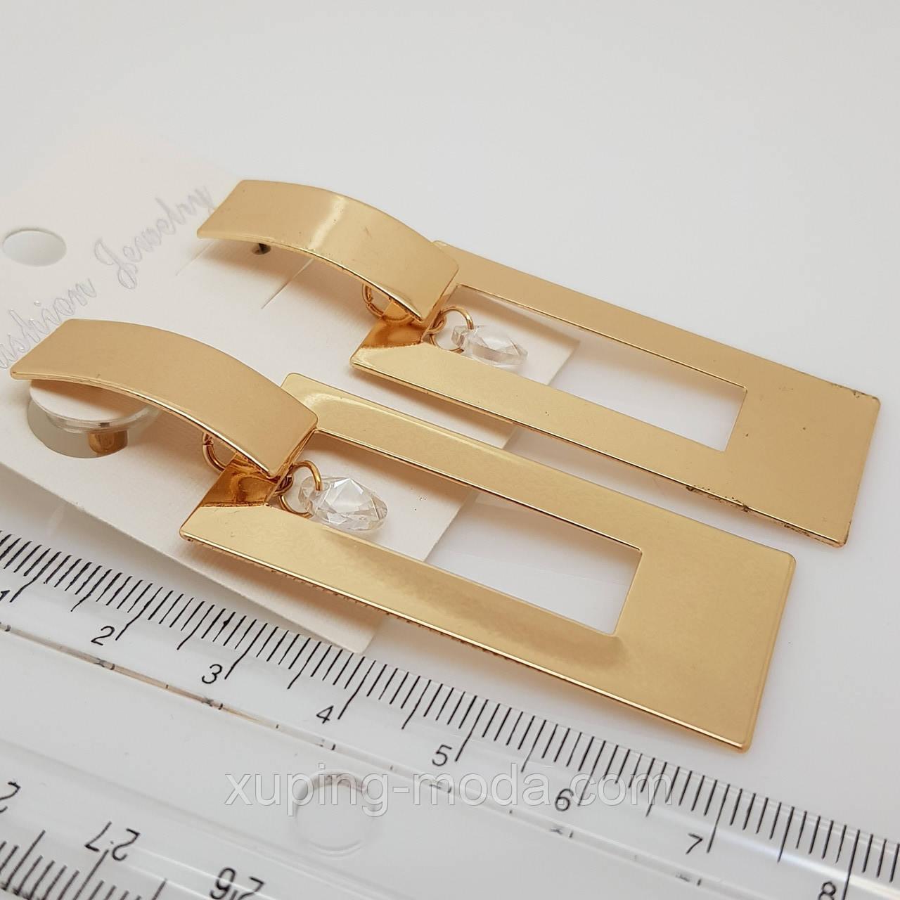 Длинные гладкие сережки, под золото
