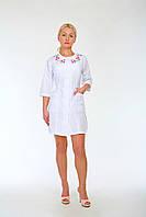 Женский медицинский халат с вышивкой HL 2176 батист 40-56 р