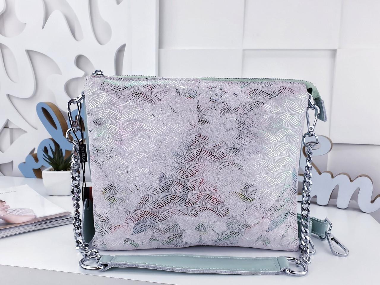 Женская сумка-клатч цвета мята с принтом, натуральная кожа