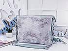 Женская сумка-клатч цвета мята с принтом, натуральная кожа , фото 3
