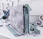 Женская сумка-клатч цвета мята с принтом, натуральная кожа , фото 7