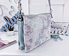 Женская сумка-клатч цвета мята с принтом, натуральная кожа , фото 6