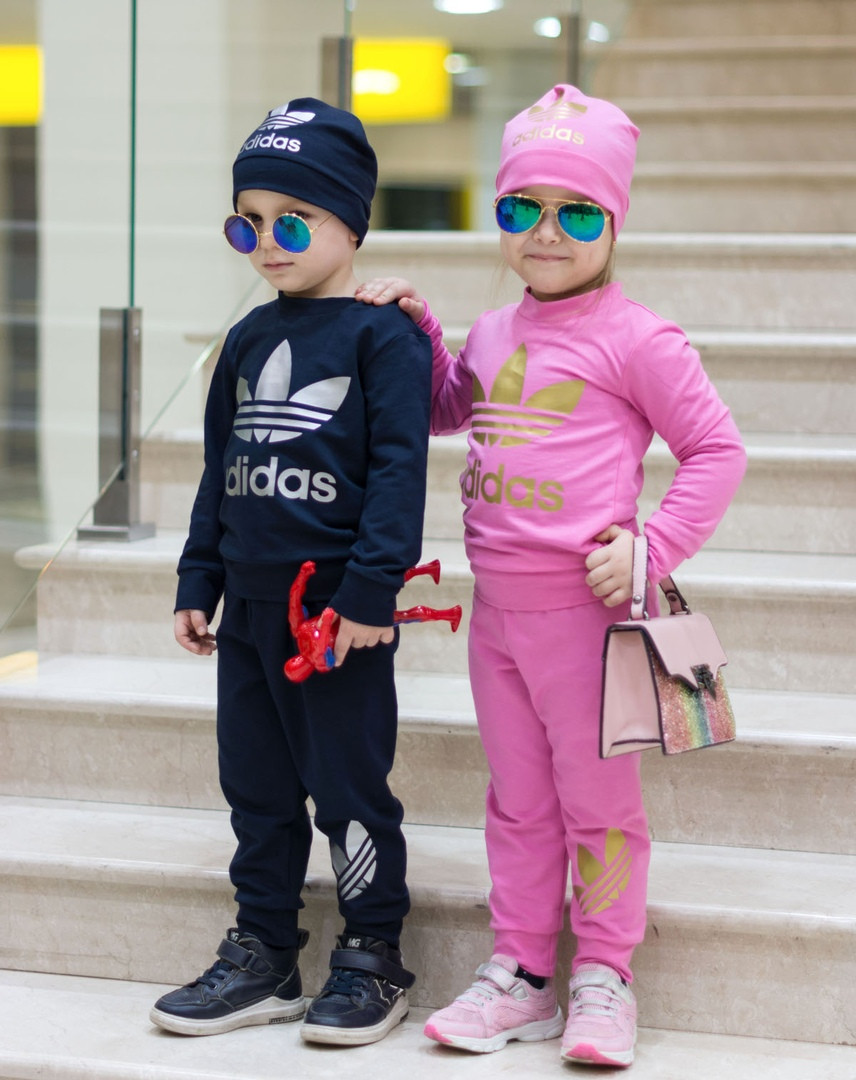 Спортивный костюм с шапкой тройка детский , чёрный, серый, розовый