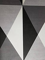 Обои виниловые на флизелине Ugepa J67929  Motif Norman треугольники черные серые белые, фото 1