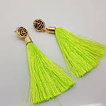 Кисточки сережки, зеленого цвета, короткие, 6 см, фото 2