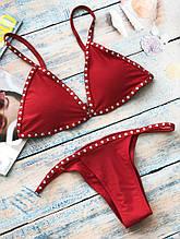 Купальник - бикини красный с рюшами