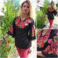 """Женская блуза с вышивкой """"Маковка"""", материал - лен, р-р 48,50  520 грн., фото 1"""