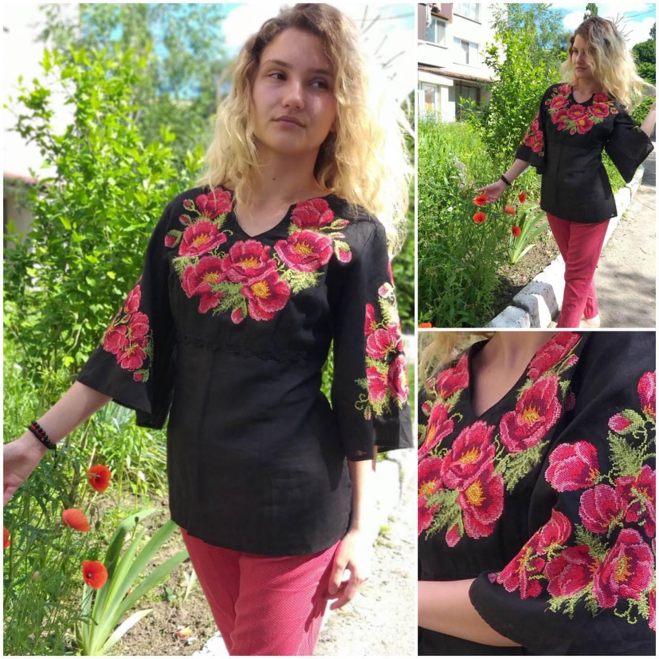 "Женская блуза с вышивкой ""Маковка"", материал - лен, р-р 48,50  520 грн."