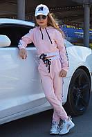 Детский спортивный костюм для девочек чёрный, голубой, розовый