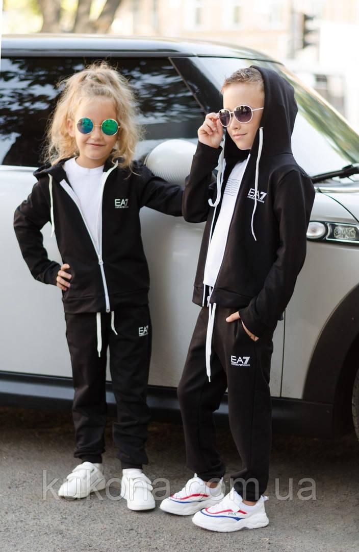 """Детский спортивный костюм """"EA7"""" , чёрный, меланж, карал"""