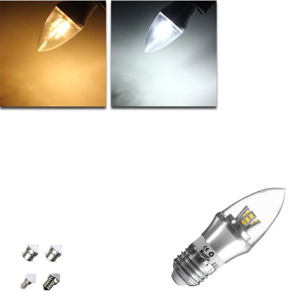 E27/e14/e12/b22/b15 3w LED теплая 85-265v лампа white/white15smd 2835 лампочки свечи - 1TopShop