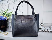 Женская сумка цвета темное-серебро с переливом+черный, эко кожа структурная