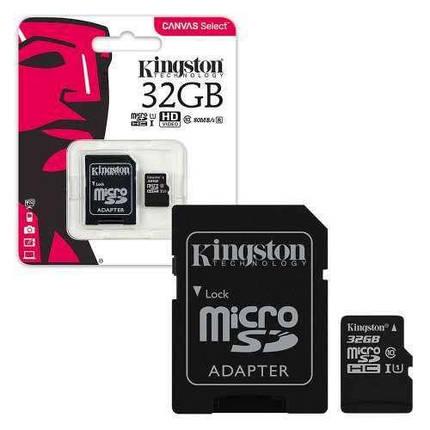 Kingston microSDHC 32GB Canvas Select Class 10 UHS-I U1 + SD-адаптер, фото 2