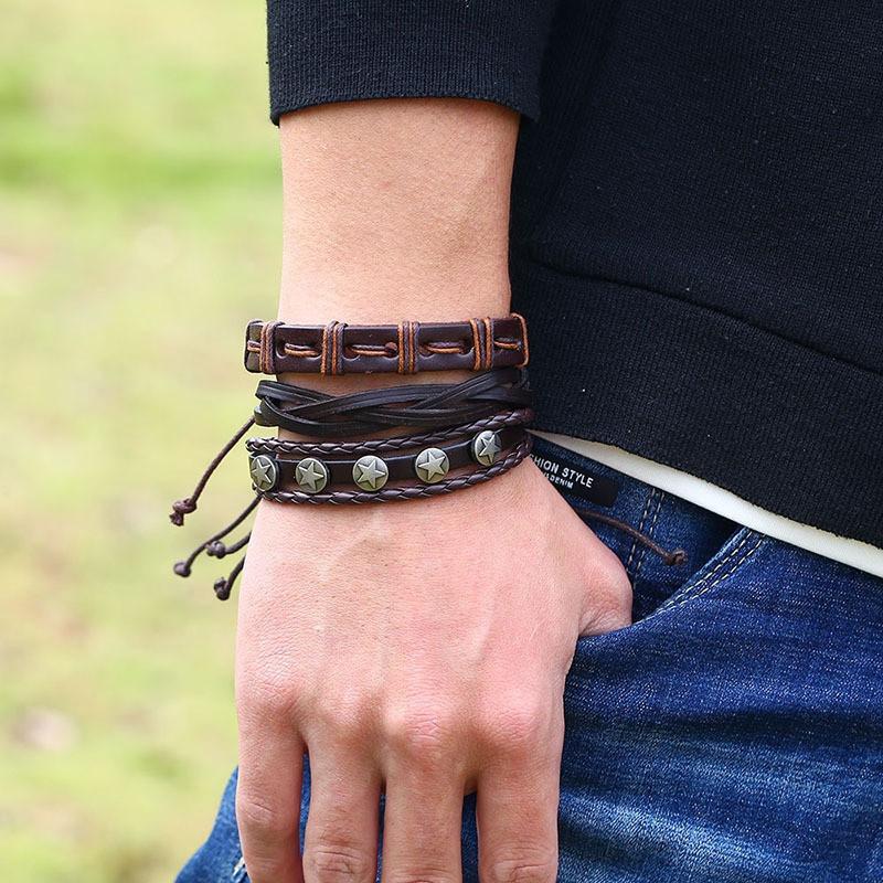 Ретро плетеный кожаный браслет Многослойный браслет Коричневый браслет для мужчин - 1TopShop