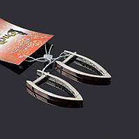 Серебряные серьги галочки с золотом, фото 1
