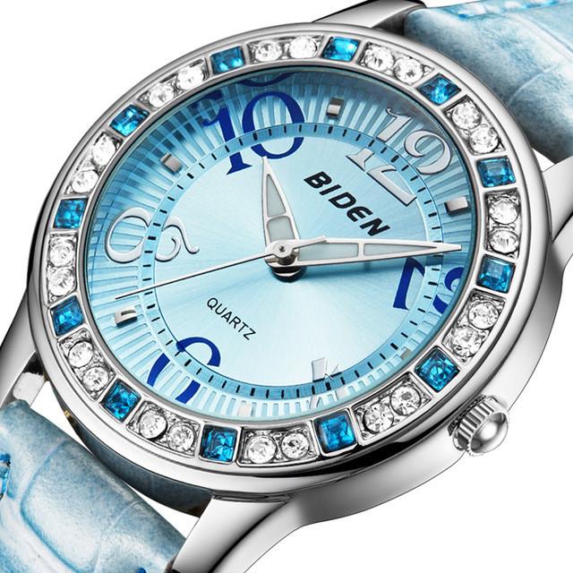BIDENBD1110ClassicКристаллЖенскоенаручные часы кожаный ремешок случайные кварцевые часы - 1TopShop