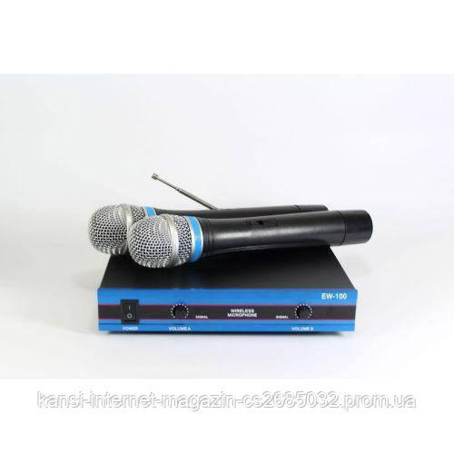 Радіосистема DM EW 100 і 2 бездротових мікрофонами, радіомікрофони з базою для караоке